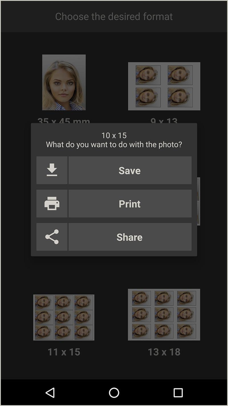 Print, save or share passport photo (Android App)