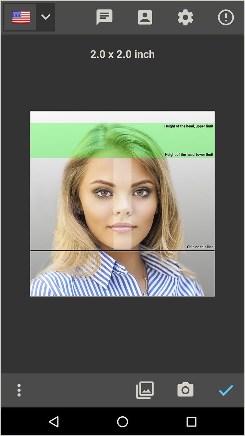 Create a passport photo for US Passport 2 x 2 inch (Android App)