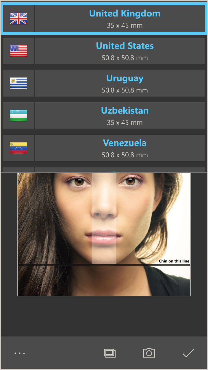 Create passport photos for countries like USA, China or European countries (Windows 10 App)