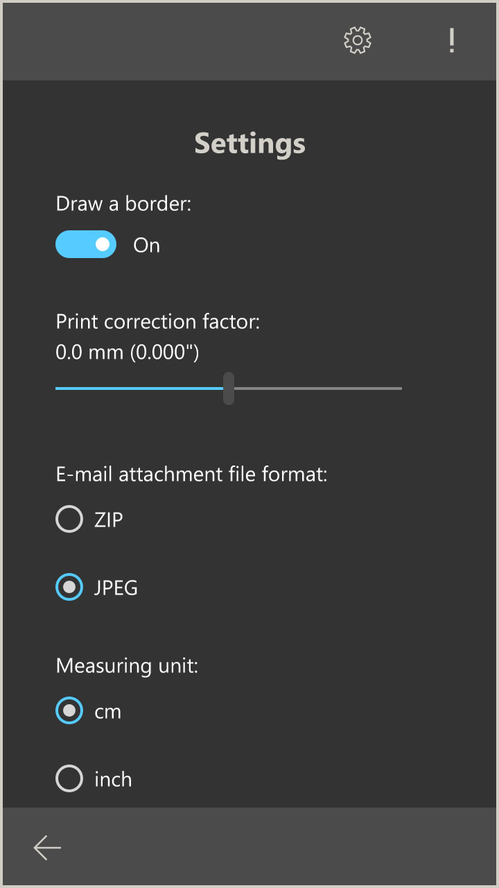 ID Photo App settings (Windows 10 App)