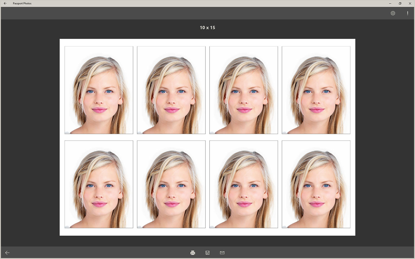 Eight passport photos on photo paper