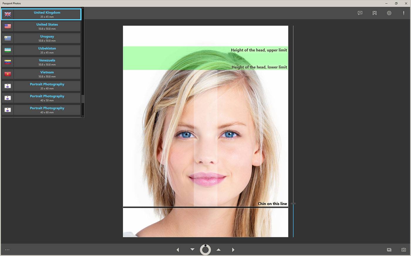 Selection of a passport photo template
